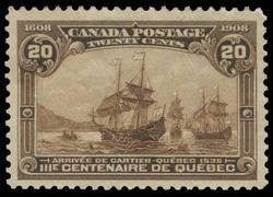 Arrival of Cartier - Quebec 1535 (Arrivee de Cartier - Quebec 1535) Canada Postage Stamp | Tercentenary