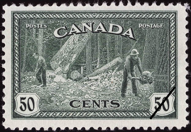 Felling Big Trees in British Columbia Canada Postage Stamp