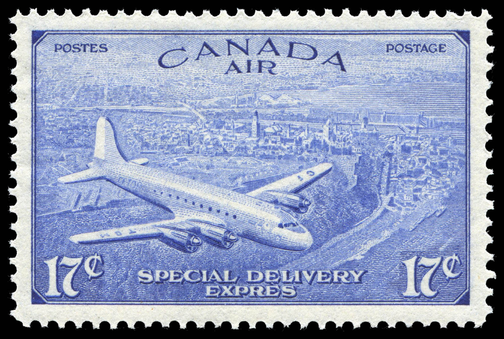 Mail Plane over Quebec, Air, Special Delivery Canada Postage Stamp