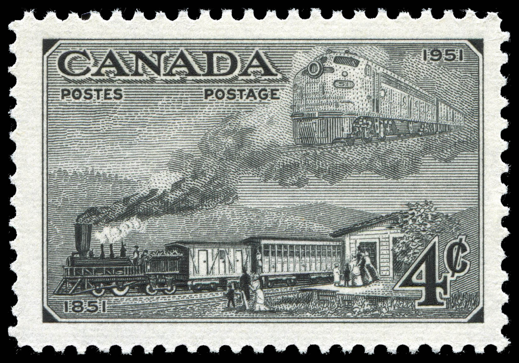 Trains of 1851 & 1951 Canada Postage Stamp | Centennial of British North American Postal Administration