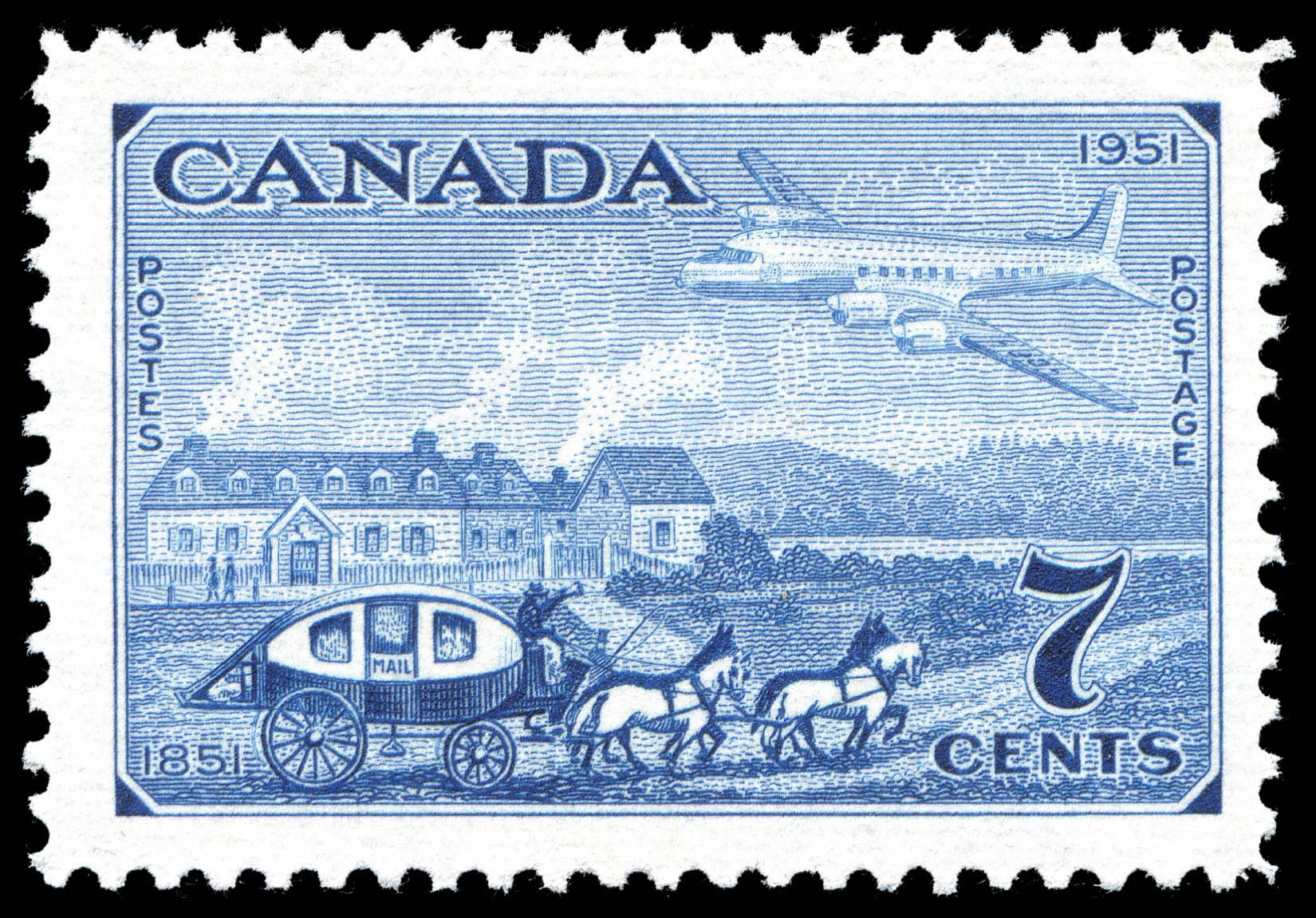Stagecoach of 1851 & Plane of 1951 Canada Postage Stamp