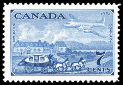 Stagecoach of 1851 & Plane of 1951 Canada Postage Stamp | Centennial of British North American Postal Administration