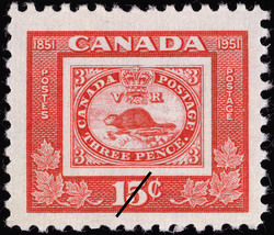 Three Pence Beaver Canada Postage Stamp | Centennial of British North American Postal Administration