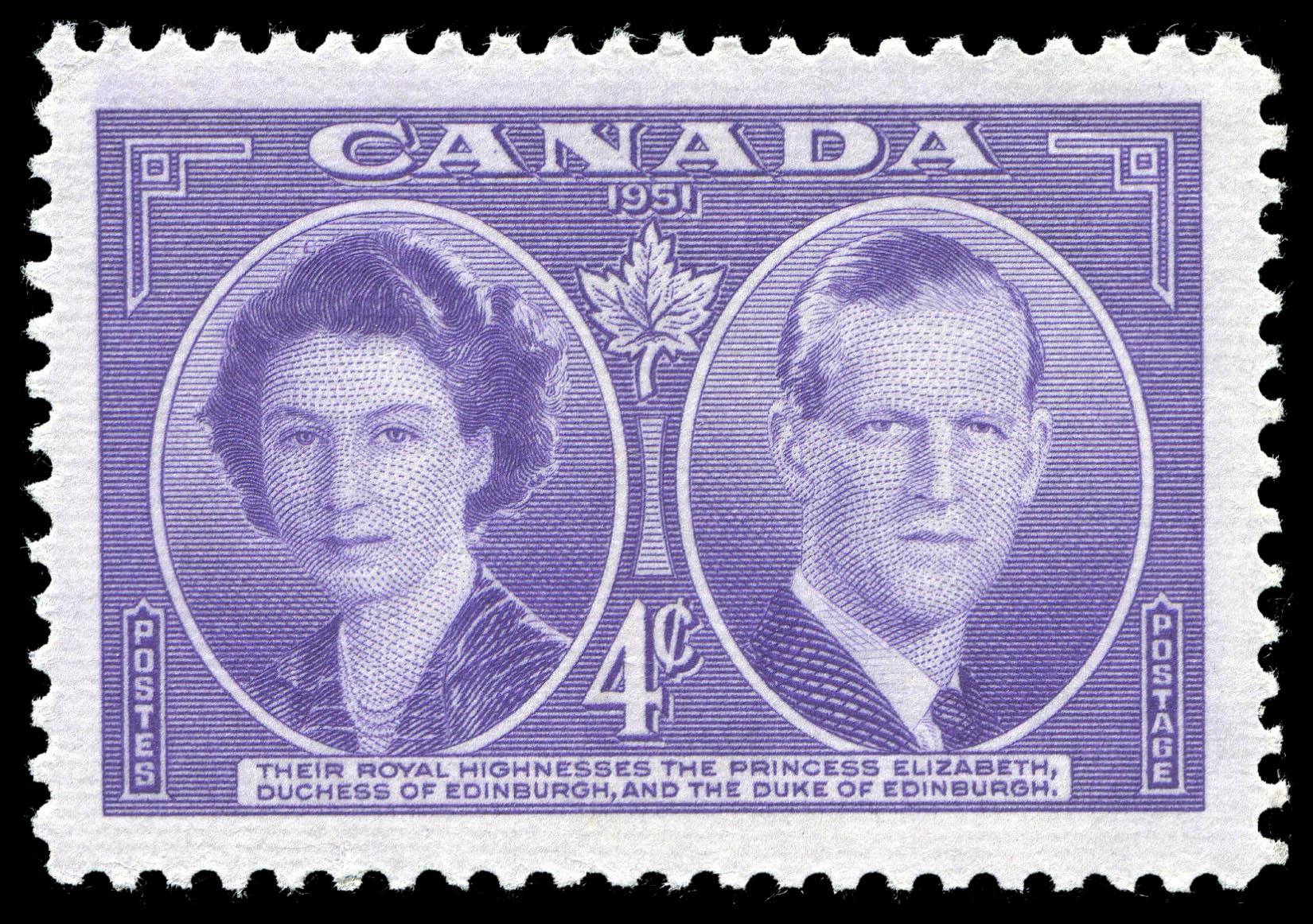 Their Royal Highnesses the Princess Elizabeth, Duchess of Edinburgh, and the Duke of Edinburgh Canada Postage Stamp