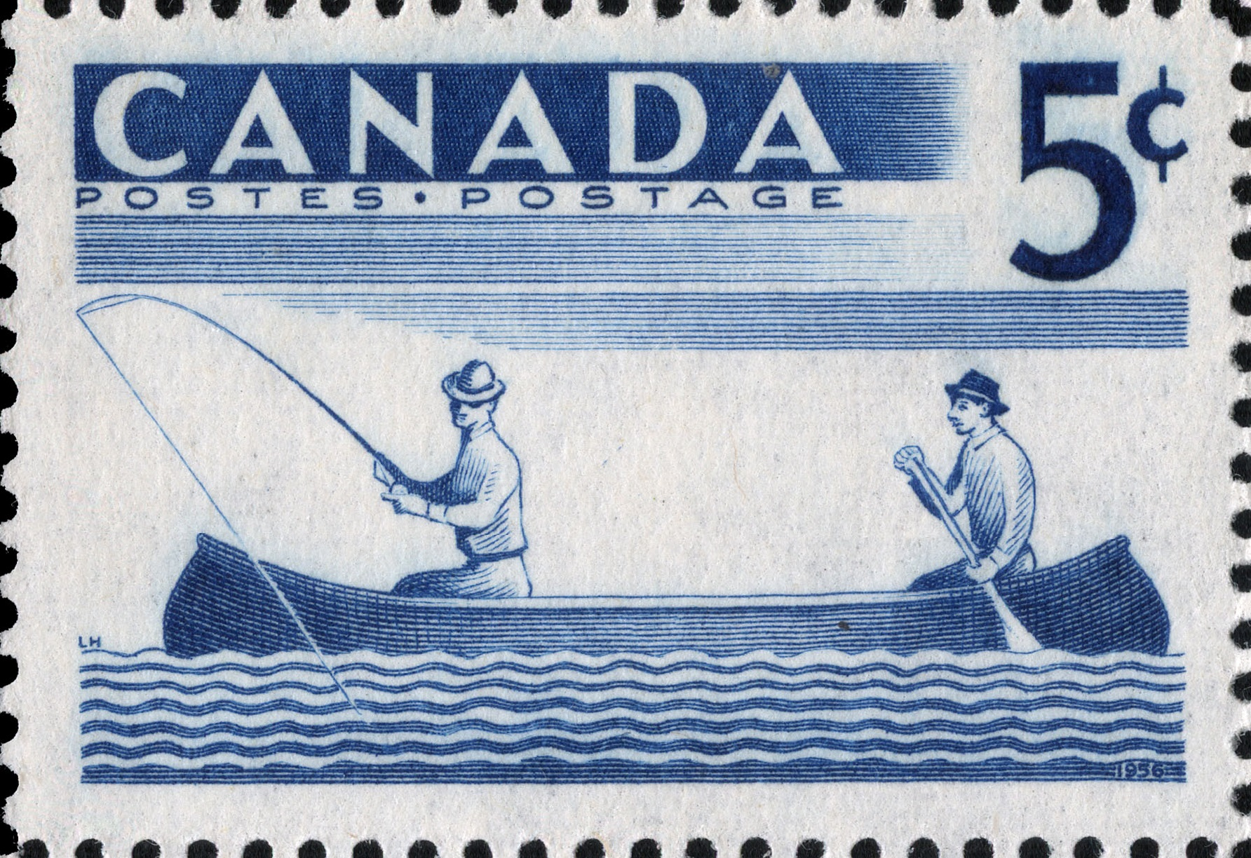 Fishing Canada Postage Stamp