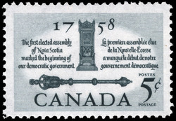 The first elected assembly of Nova Scotia, 1758, marked the beginning of our democratic government Canada Postage Stamp