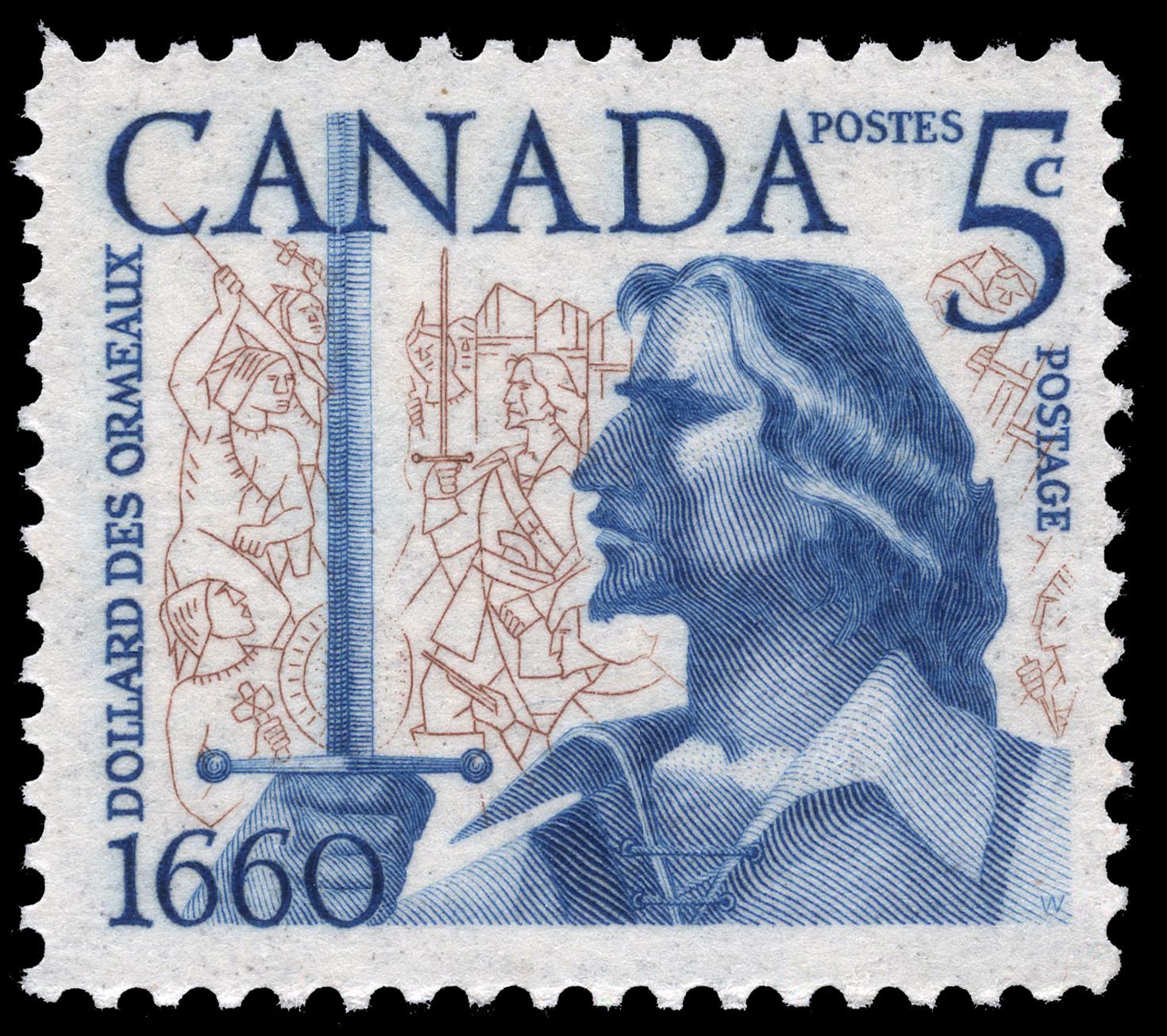 Dollard des Ormeaux, 1660 Canada Postage Stamp