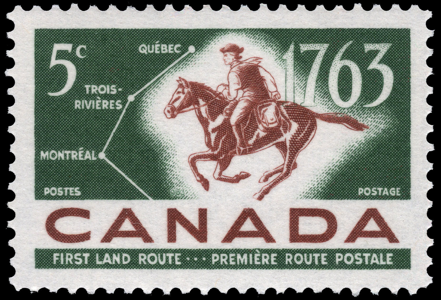 First Land Route, 1763 Canada Postage Stamp