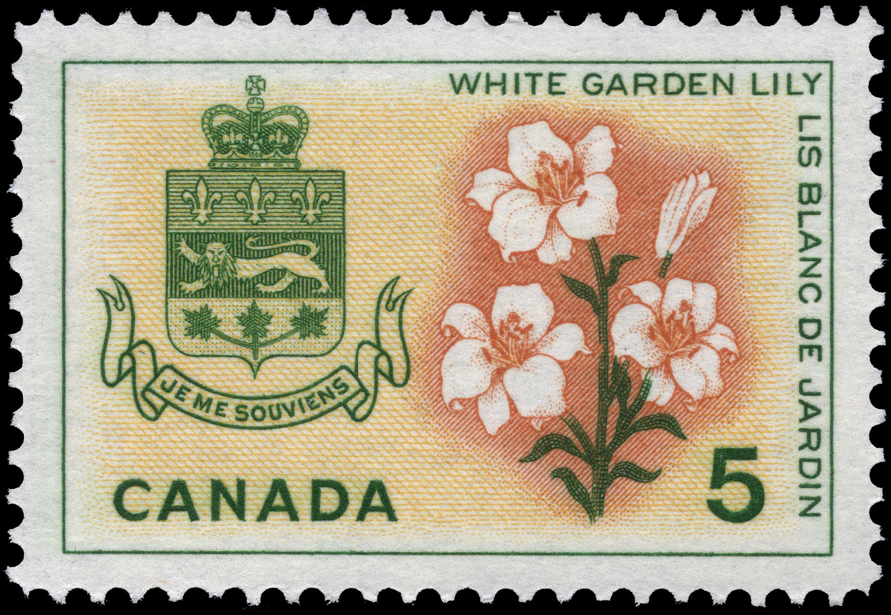 White Garden Lily, Quebec Canada Postage Stamp | Floral Emblems