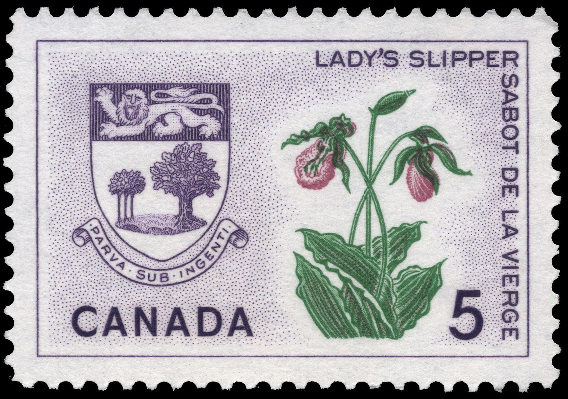 Lady's Slipper, Prince Edward Island Canada Postage Stamp | Floral Emblems