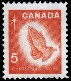 Praying Hands Canada Postage Stamp | Christmas