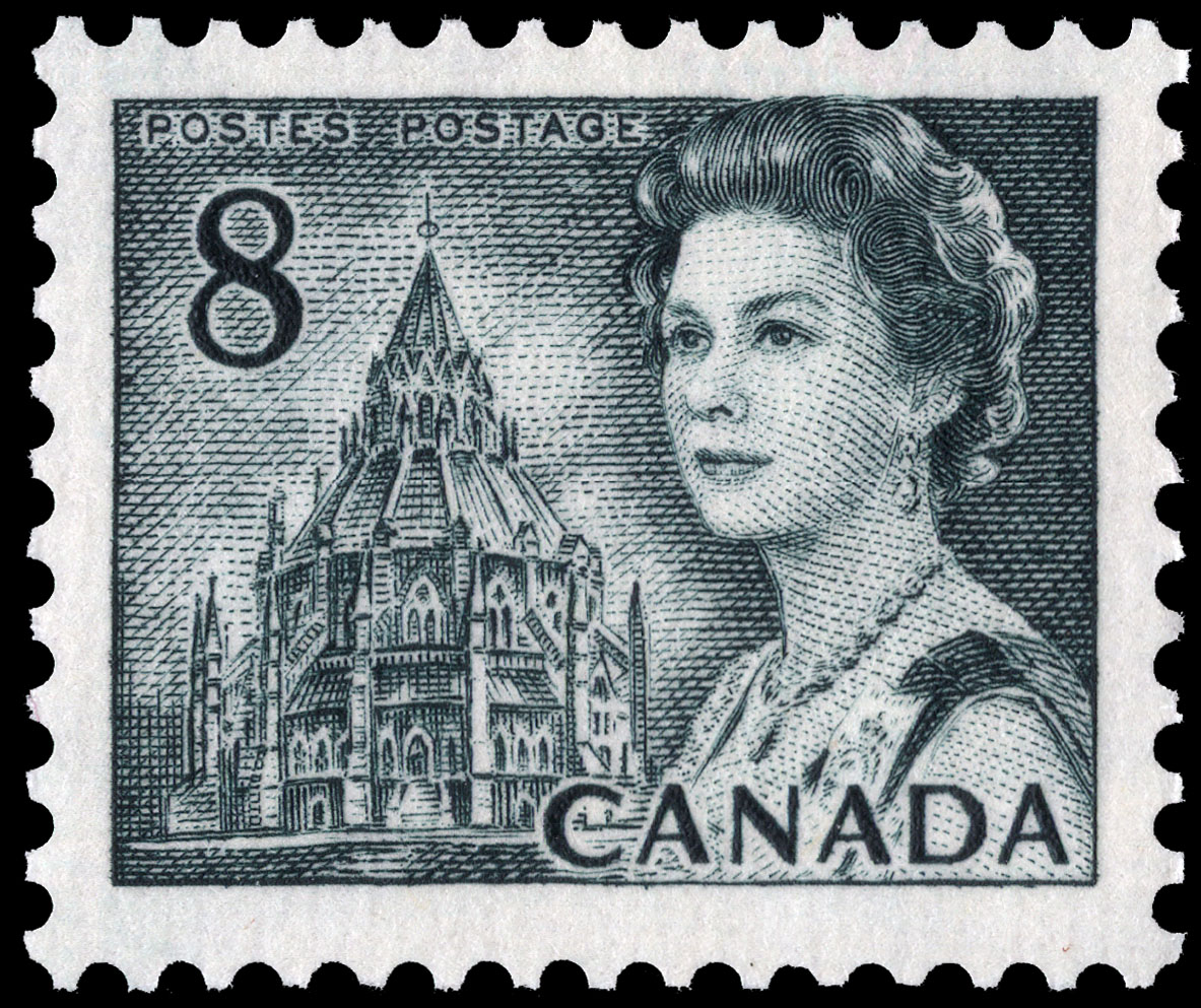 Queen Elizabeth II, Library of Parliament Canada Postage Stamp | Centennial Issue