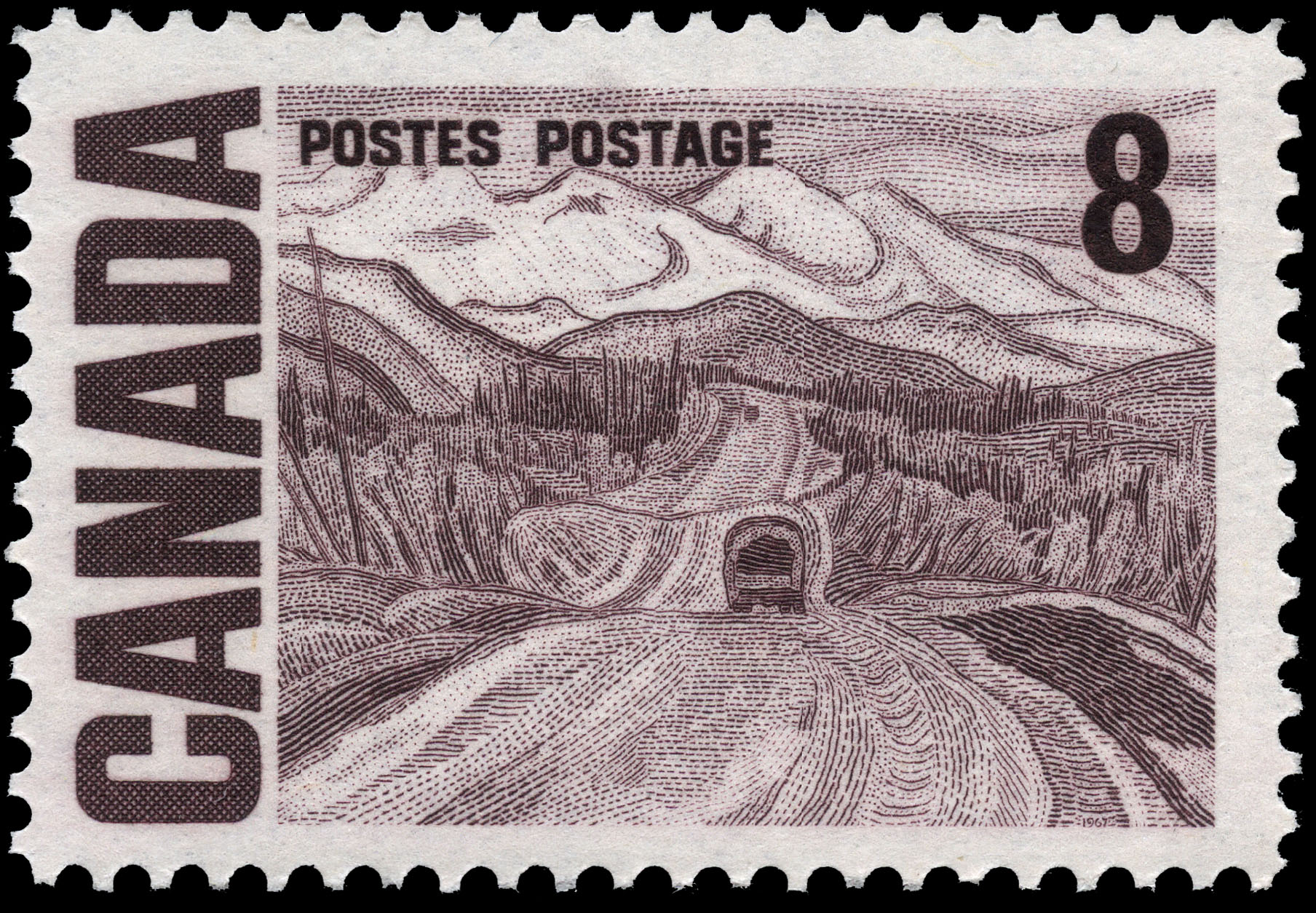 Alaska Highway between Watson Lake and Nelson Canada Postage Stamp