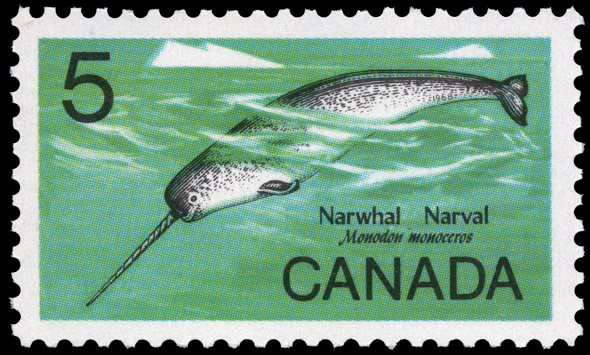 Narwhal, Monodon monoceros Canada Postage Stamp