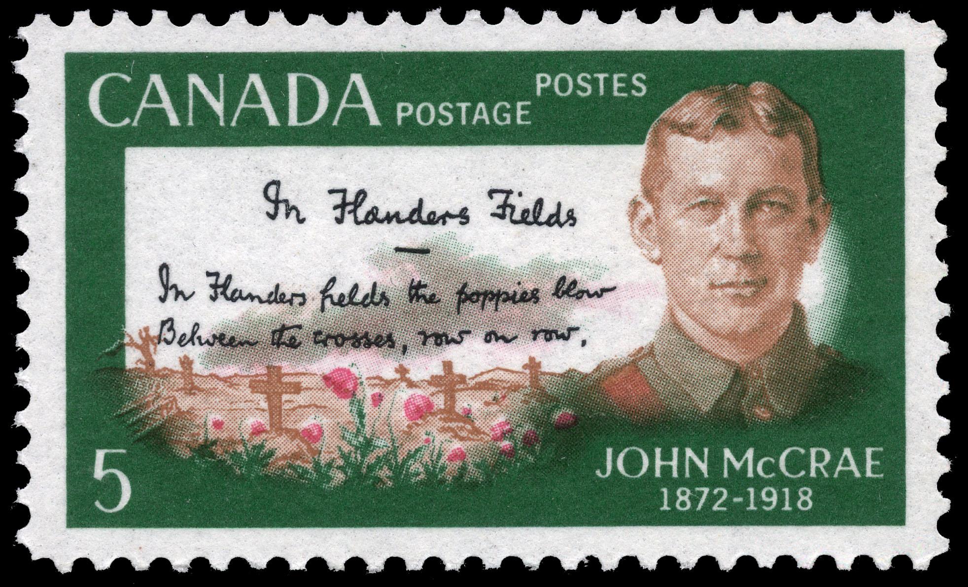 John McCrae, 1872-1918, In Flanders Field Canada Postage Stamp