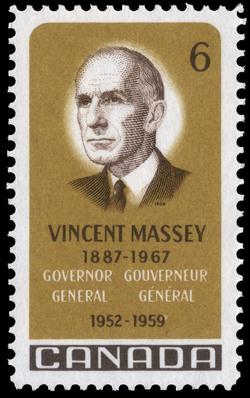 Vincent Massey, 1887-1967, Governor General, 1952-1959 Canada Postage Stamp