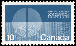 United Nations Anniversary, 25 Canada Postage Stamp