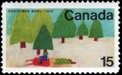 Snowmobile Canada Postage Stamp | Christmas