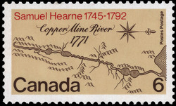 Samuel Hearne, 1745-1792, Copper Mine River, 1771 Canada Postage Stamp