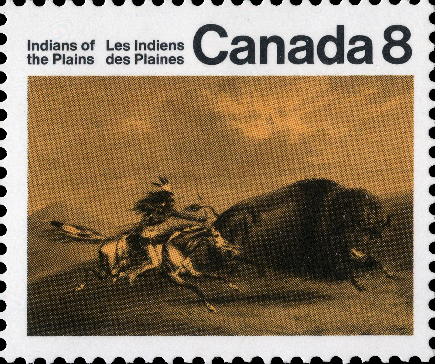 Buffalo Chase Canada Postage Stamp | Indians of Canada, Indians of the Plains