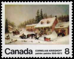 Cornelius Krieghoff, painter, 1815-1872 Canada Postage Stamp