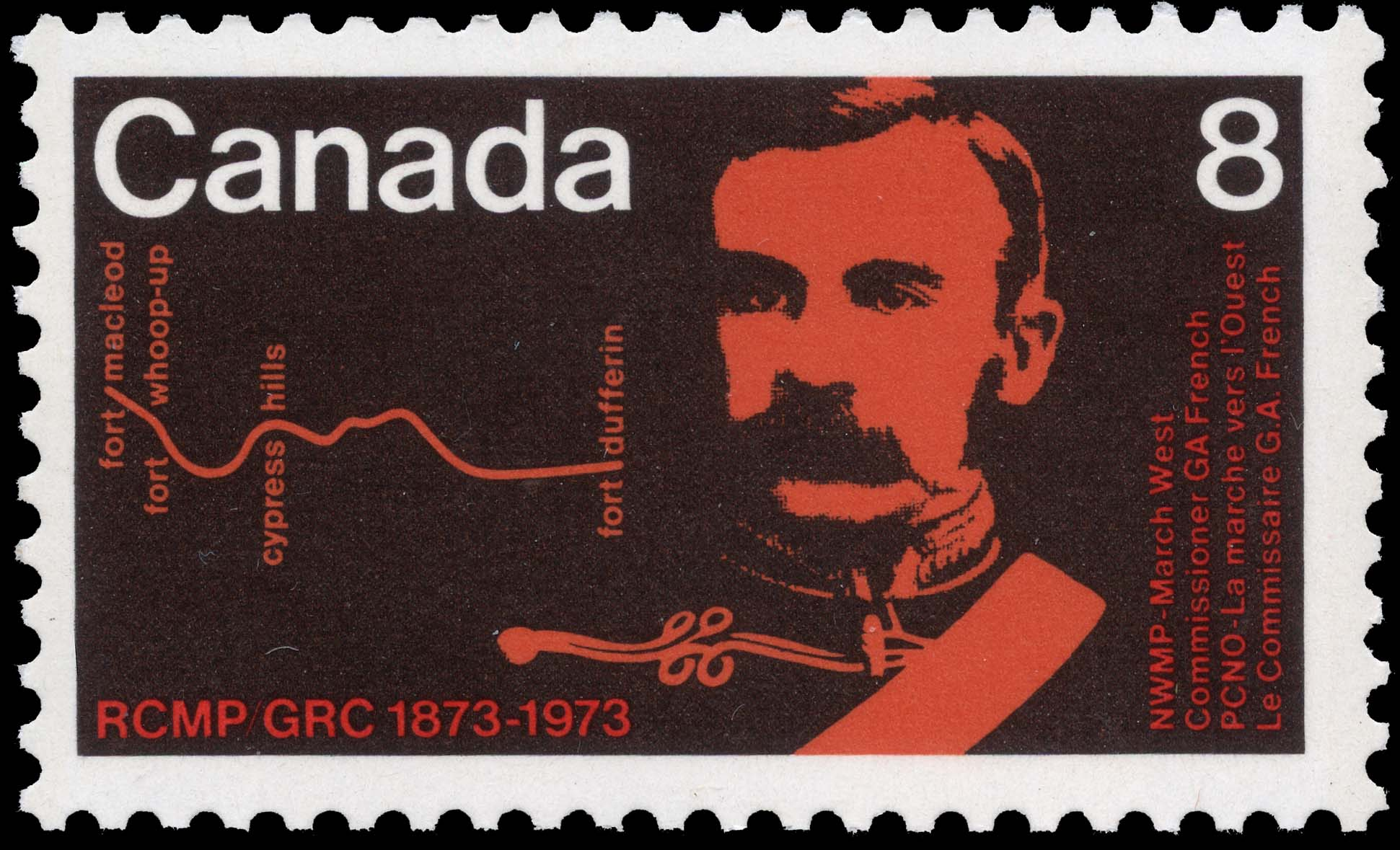 NWMP, March West, Commissioner G.A. French Canada Postage Stamp | RCMP, 1873-1973