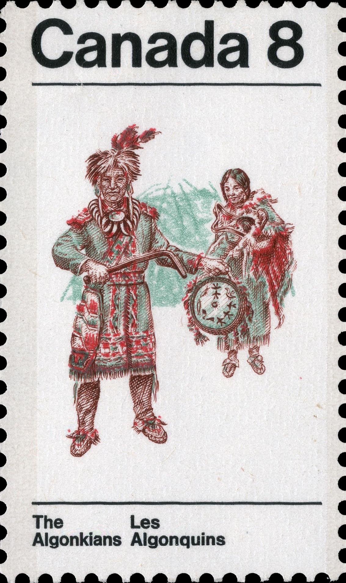 Algonkian Costume Canada Postage Stamp | Indians of Canada, The Algonkians