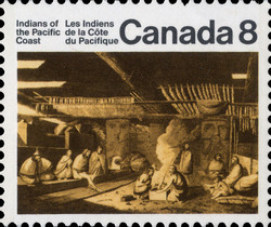The Inside of a House in Nootka Sound Canada Postage Stamp | Indians of Canada, Indians of the Pacific Coast