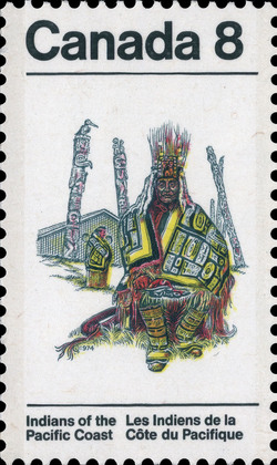 Chilkat Blanket Canada Postage Stamp | Indians of Canada, Indians of the Pacific Coast