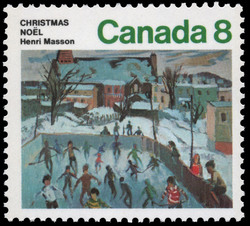 Skaters in Hull Canada Postage Stamp | Christmas