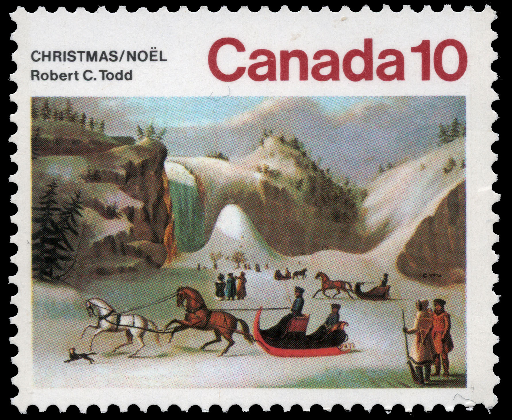 The Ice Cone, Montmorency Falls Canada Postage Stamp | Christmas