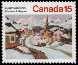 Village in the Laurentian Mountains Canada Postage Stamp | Christmas
