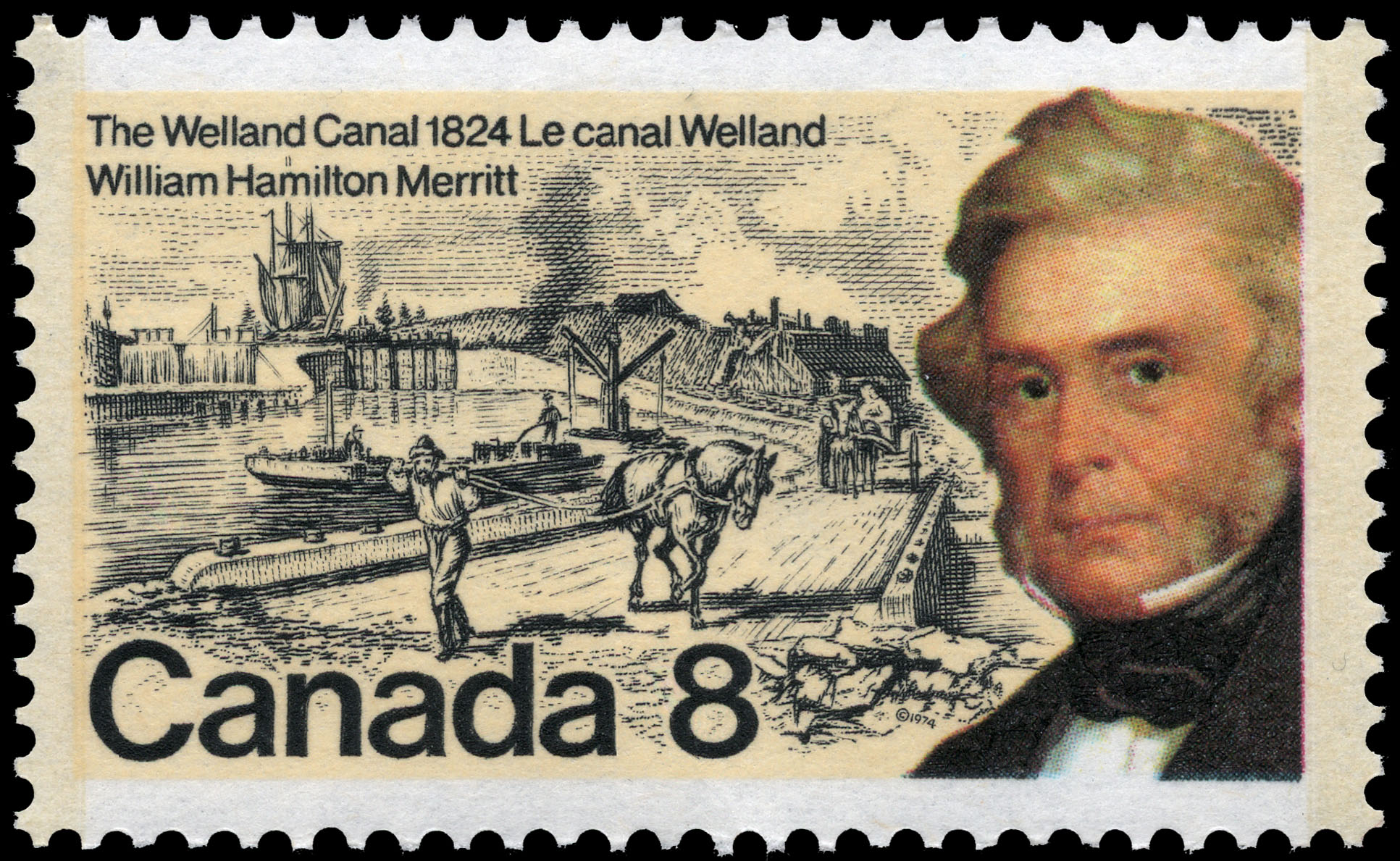 William Hamilton Merritt, The Welland Canal, 1824 Canada Postage Stamp