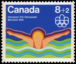 Swimming Canada Postage Stamp | 1976 Olympic Games, Water Sports