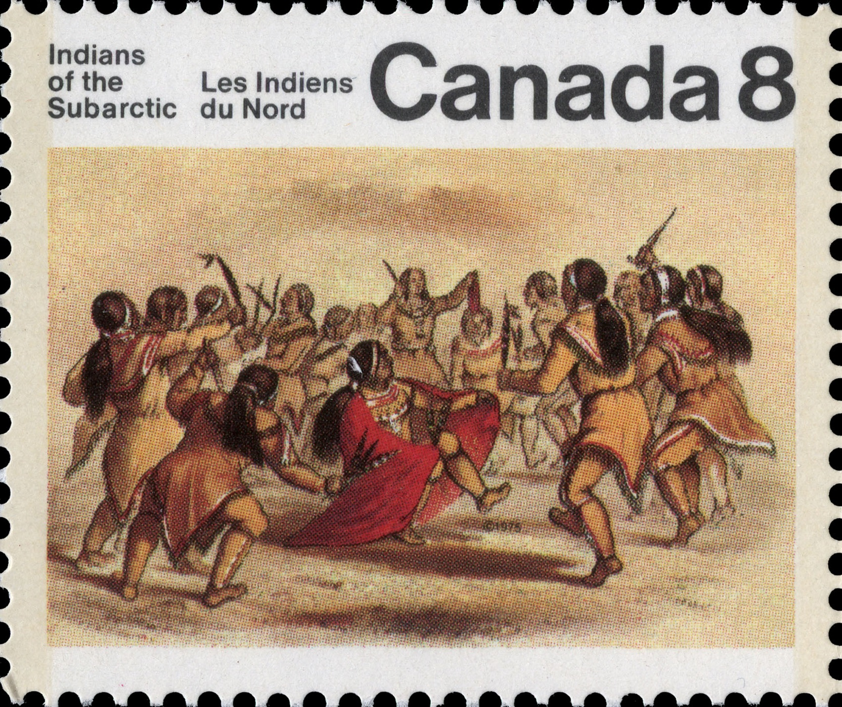 Dance of the Kutcha-Kutchin Canada Postage Stamp | Indians of Canada, Indians of the Subarctic