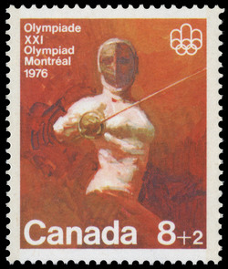Fencing Canada Postage Stamp | 1976 Olympic Games, Combat Sports