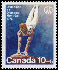 Vaulting Canada Postage Stamp | 1976 Olympic Games, Team Sports and Gymnastics