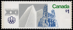 Place Ville Marie and Notre-Dame Church Canada Postage Stamp | 1976 Olympic Games, Site