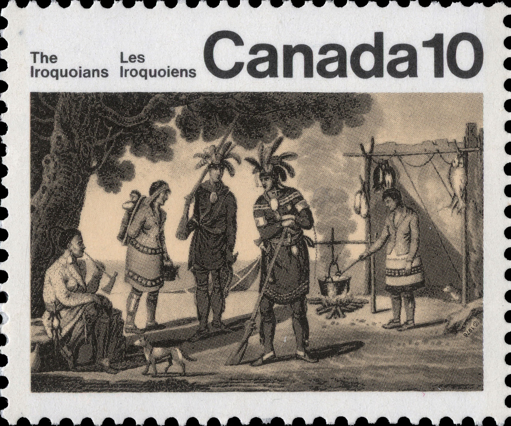 Iroquoian Encampment Canada Postage Stamp | Indians of Canada, The Iroquoians