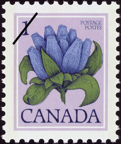 Bottle Gentian, Gentiana andrewsii Canada Postage Stamp | Wildflowers of Canada