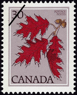 Red Oak, Quercus rubra Canada Postage Stamp | Trees of Canada