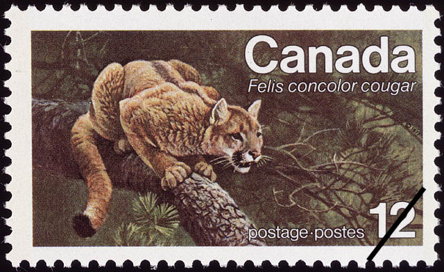 Eastern Cougar, Felis concolor cougar Canada Postage Stamp | Endangered Wildlife