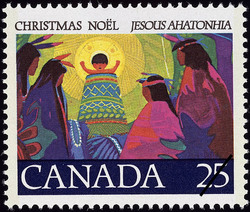 Holy Child Canada Postage Stamp | Christmas, Jesous Ahatonhia