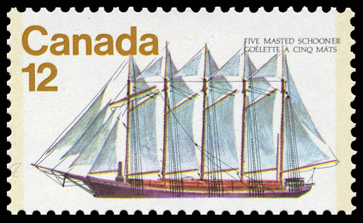 Five-Masted Schooner Canada Postage Stamp