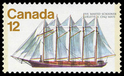 Five-Masted Schooner Canada Postage Stamp | Ships of Canada, Sailing Vessels