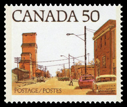 Prairie Street Scene Canada Postage Stamp | Streets of Canada