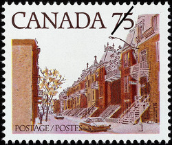 Quebec Street Scene Canada Postage Stamp | Streets of Canada