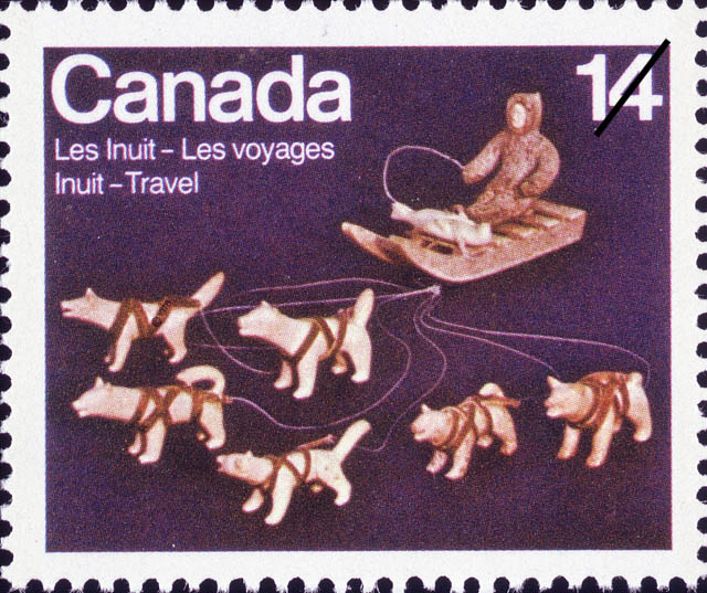 Dogsled Canada Postage Stamp