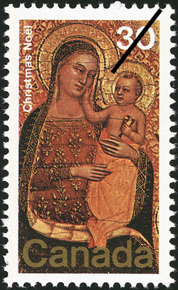 The Virgin and Child Enthroned Canada Postage Stamp | Christmas