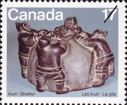 Five Inuit Building an Igloo Canada Postage Stamp | Inuit, Shelter